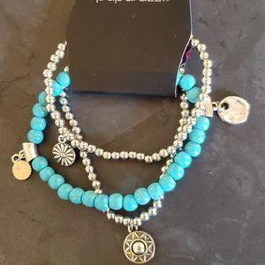 Bloom Out - Blue Stretchy Bracelets